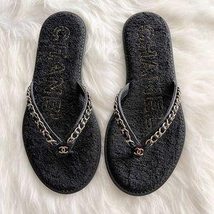 Chanel | Black & Gold Thongs size 36 (6) BN